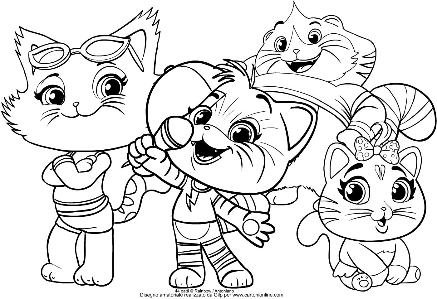 Disegno del gruppo dei Buffycats dei 44 gatti da stampare e colorare