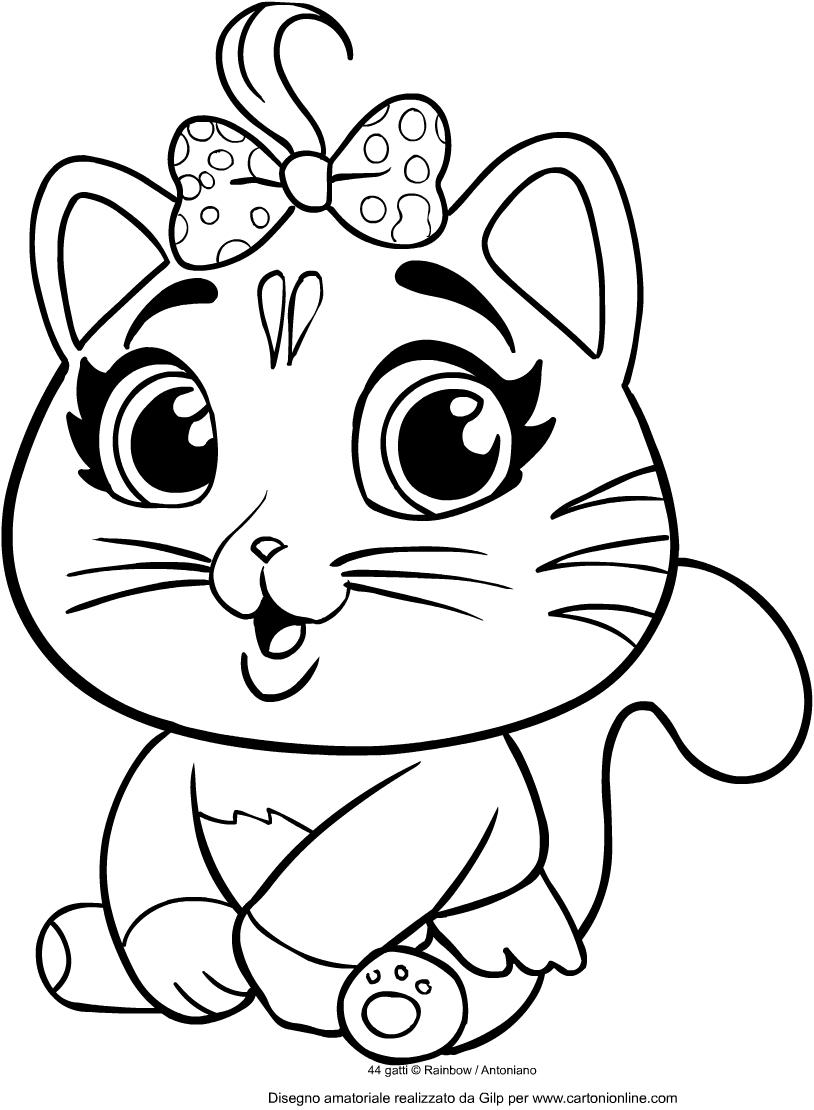 Disegno di Pilou dei 44 gatti da stampare e colorare