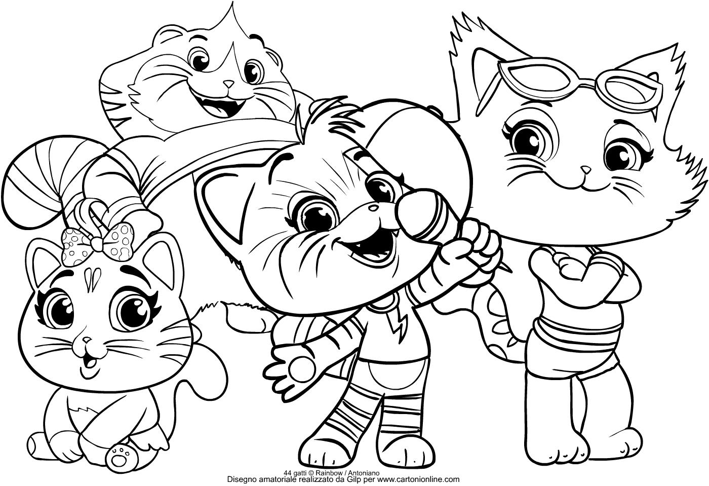 Disegno del gruppo dei buffycats dei 44 gatti da colorare for Immagini gatti da colorare