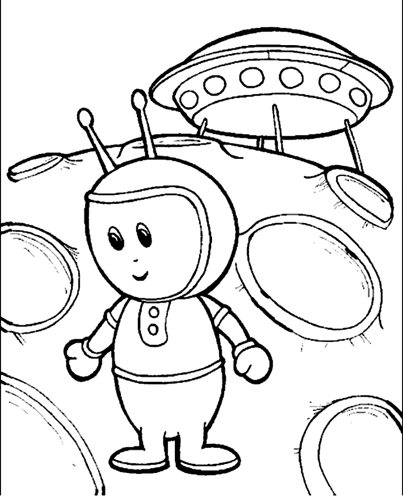 Drawing 4 Aliens and Martians coloring page to print and coloring