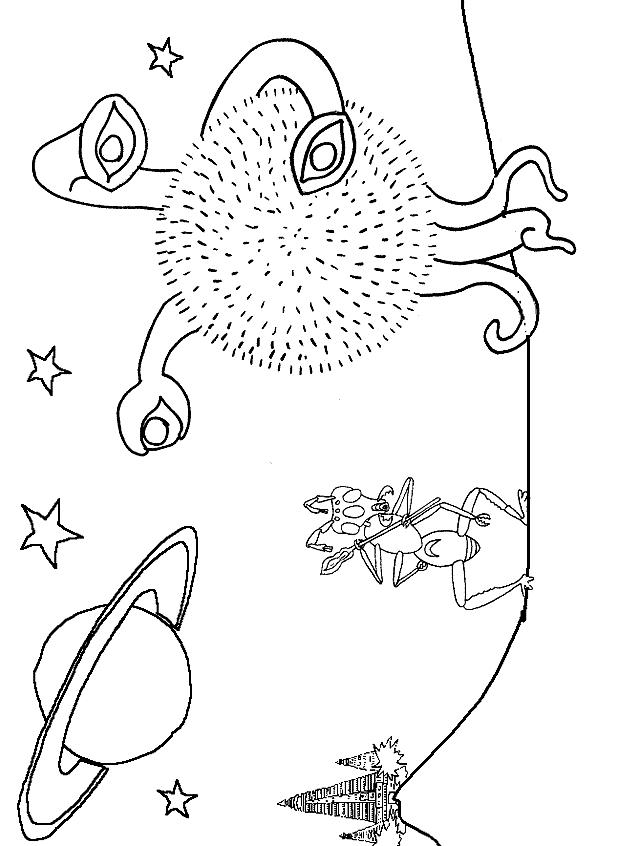 Dibujo 16 de Aliens, extraterrestres y marcianos para imprimir y colorear
