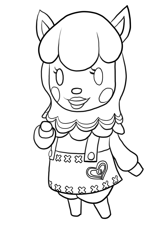 Coloriage de Alpaca de Animal Crossing is imprimer et colorier