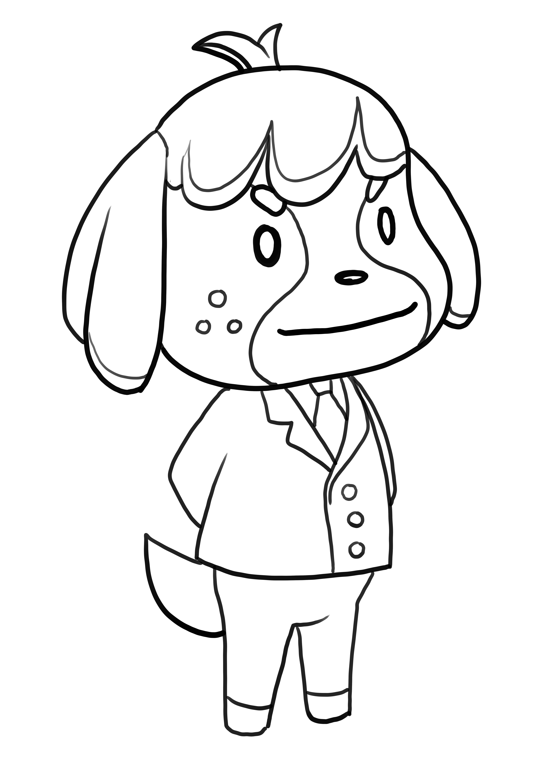 Desenho de Fofo de Animal Crossing para imprimir e colorir