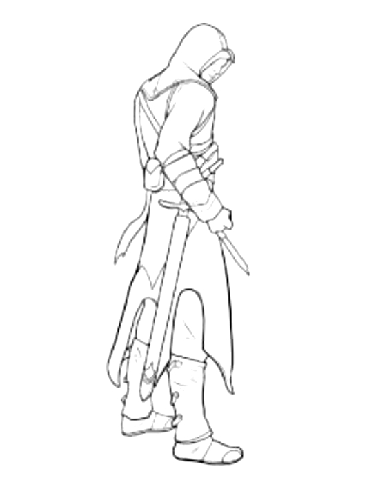 Drawing 3 from Assassin's Creed coloring page to print and coloring