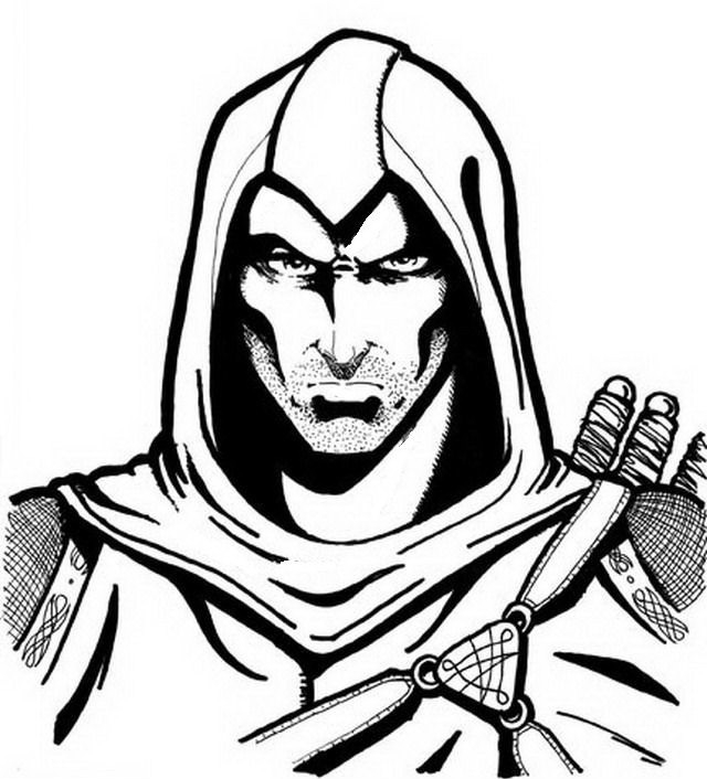 Drawing 8 from Assassin's Creed coloring page to print and coloring