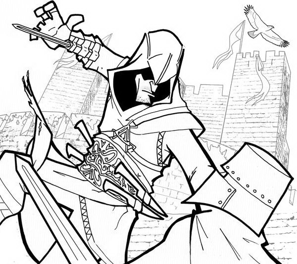 Drawing 9 from Assassin's Creed coloring page to print and coloring