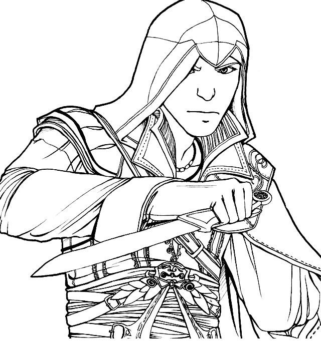 Drawing 11 from Assassin's Creed coloring page to print and coloring