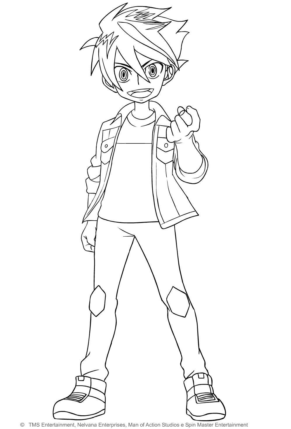 Desenho de Dan Kouzo de Bakugan Battle Planet para imprimir e colorir