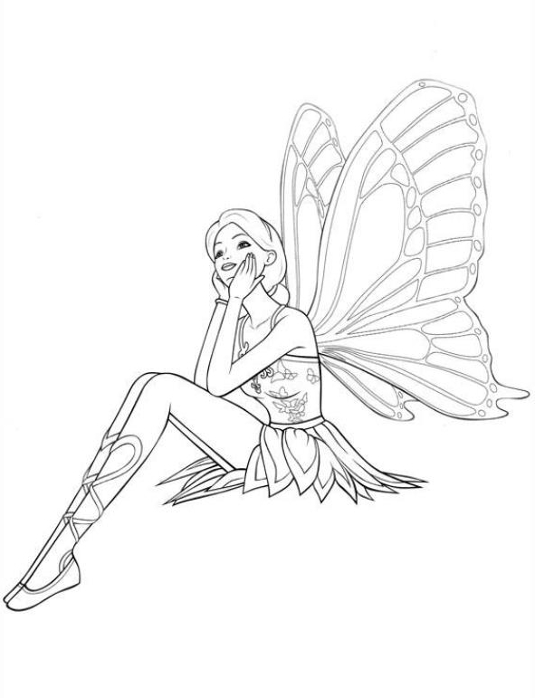 Barbie Mariposa Coloring Page Drawing 1