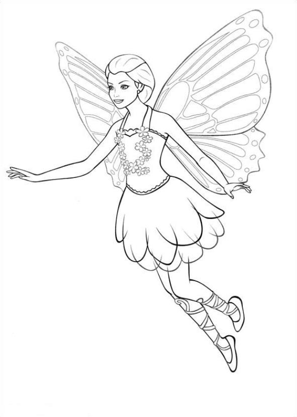 Barbie Mariposa Coloring Page Drawing 2
