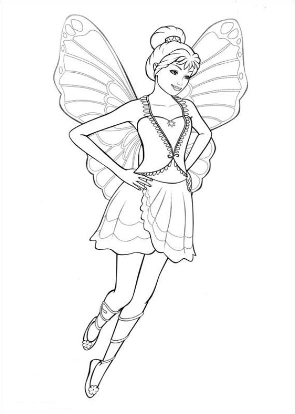 Barbie Mariposa Coloring Page Drawing 6
