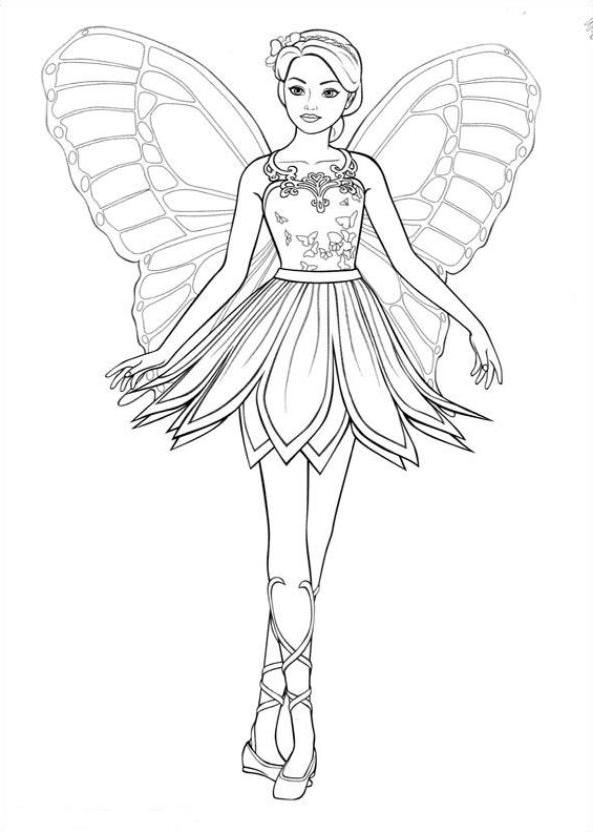 Dibujo 11 바비 마리포사 파라 임 프리미어 컬러 컬러