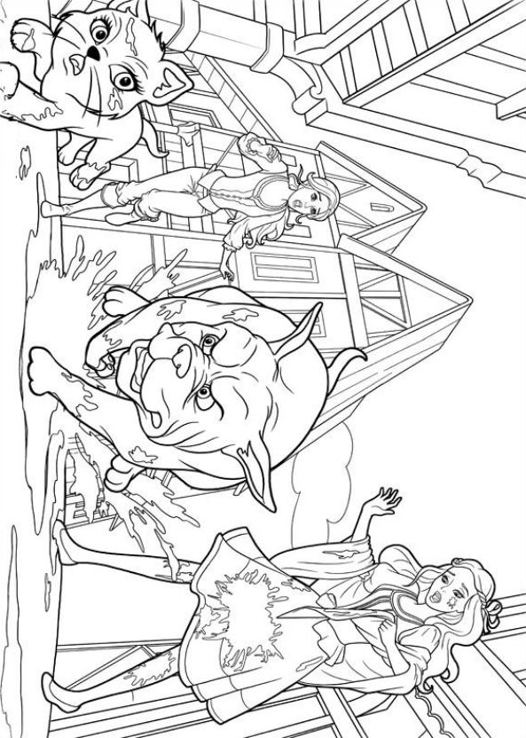 Barbie And The Three Musketeers Coloring Page - Free Barbie ... | 832x593