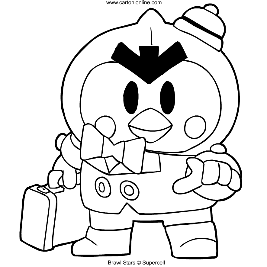 Mr P From Brawl Stars Coloring Page