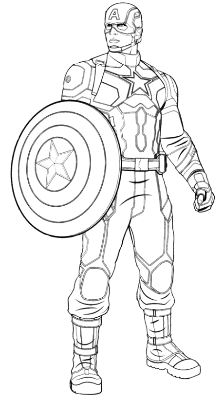 Coloriage Captain America Civil War.Captain America Civil War Coloring Page Drawing 1