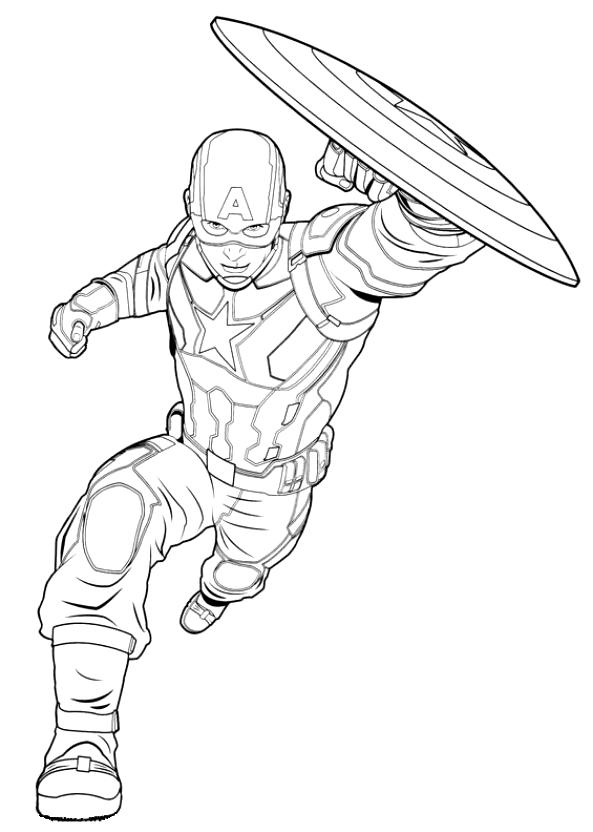 Coloriage Captain America Civil War.Coloriage 2 De Captain America Civil War
