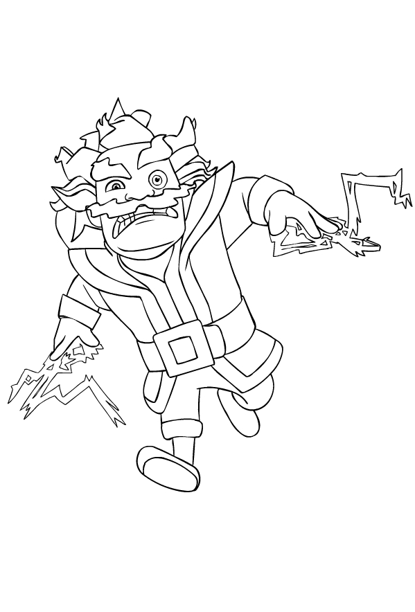 Electro Wizard from Clash Royale coloring page to print and coloring