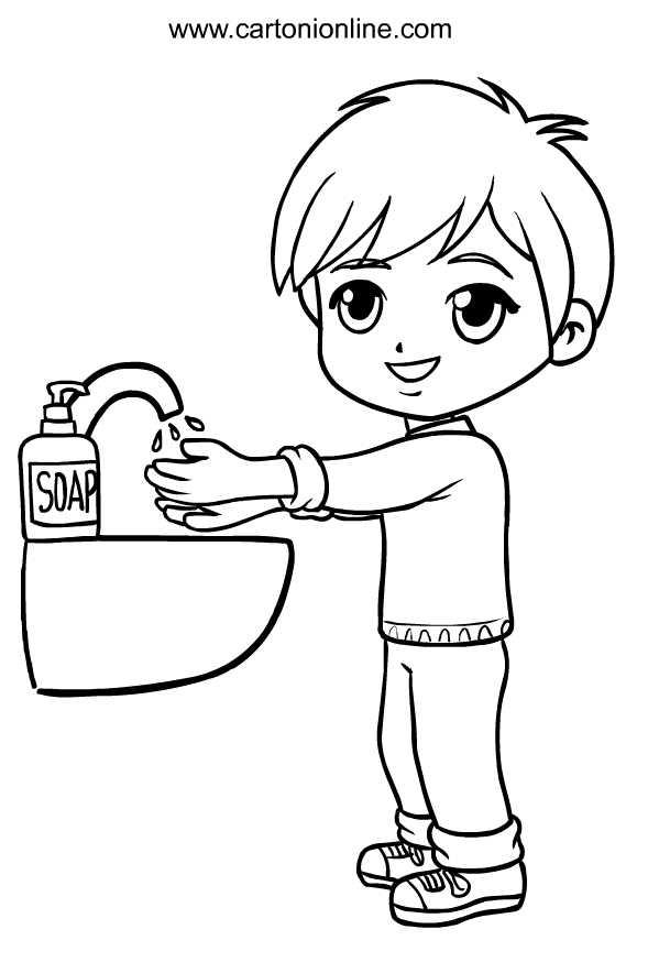Desenho de crian a lava as m os de Coronavirus para imprimir e colorir