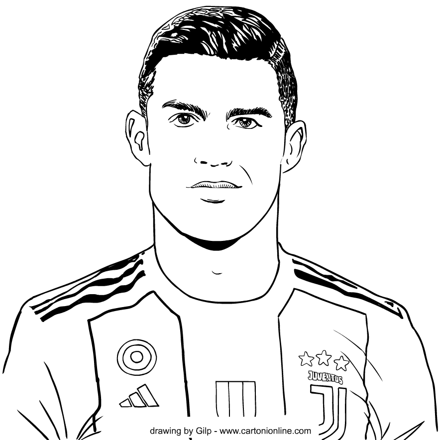 Drawing 3 Of Cristiano Ronaldo Coloring Page