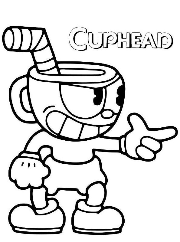 Cuphead dibujo 3 para imprimir y colorear
