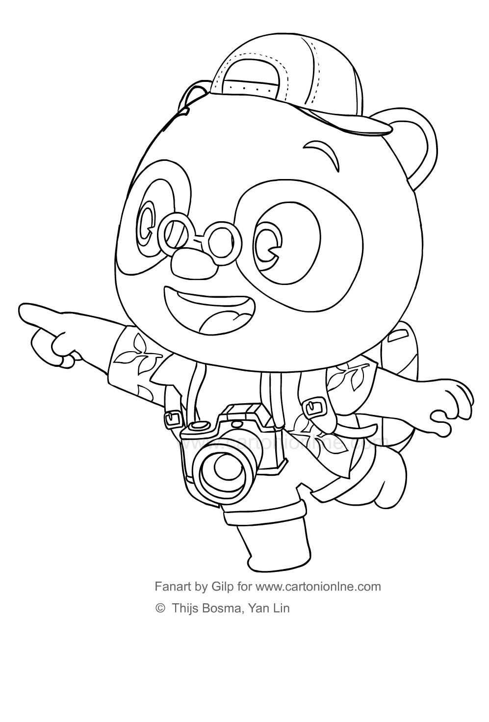 Disegno 2 di Dr Panda da stampare e colorare