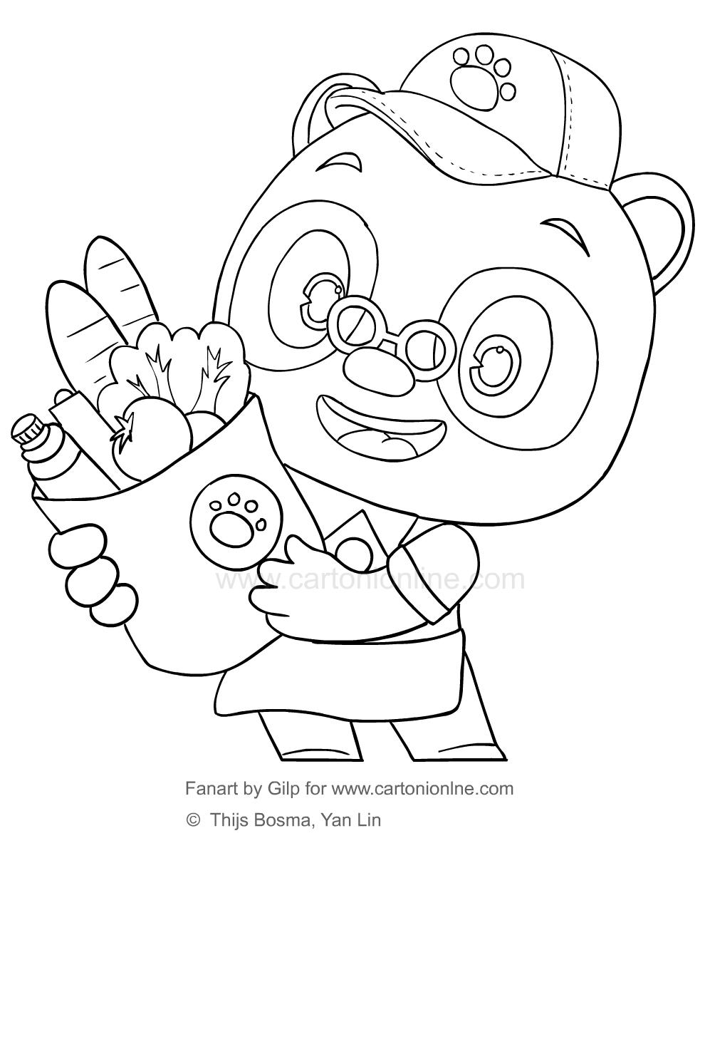 Disegno 6 di Dr Panda da stampare e colorare