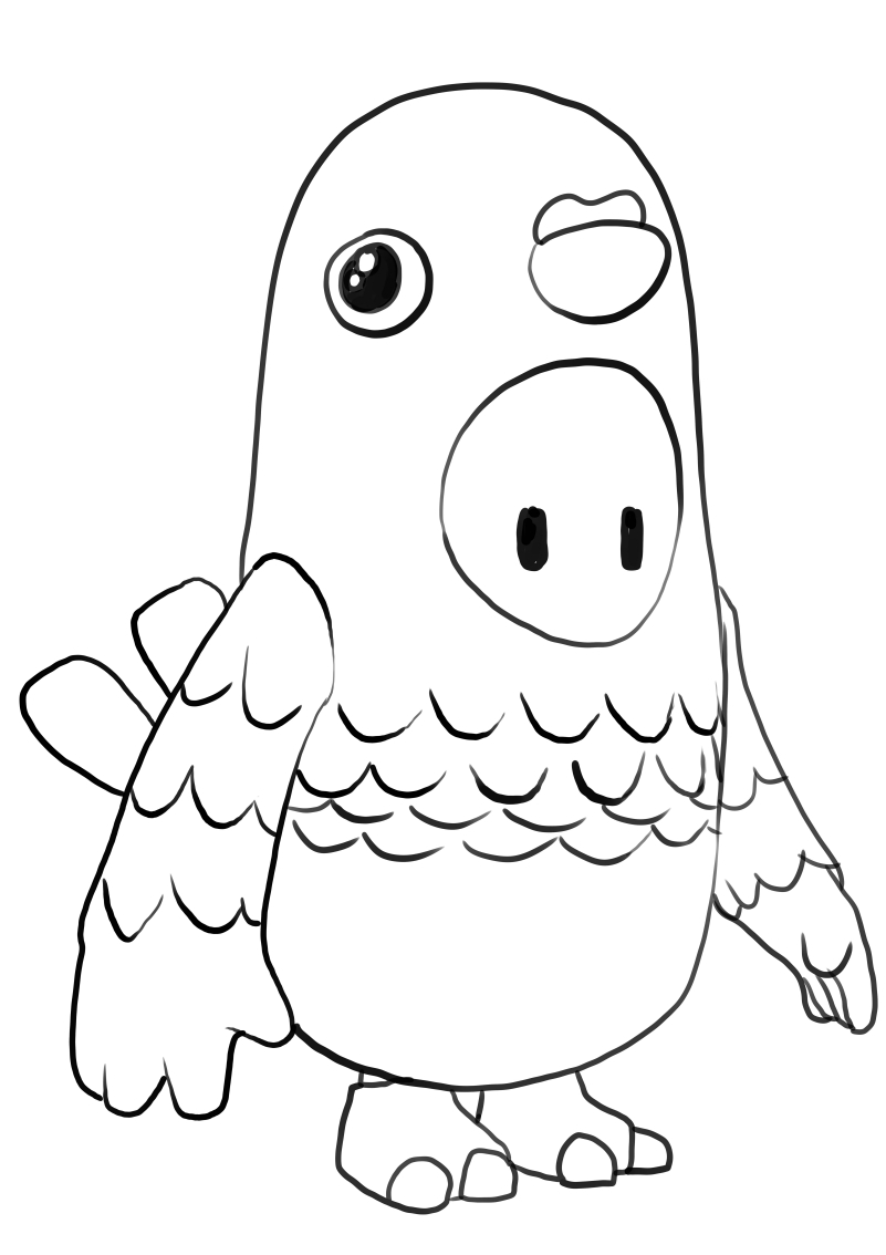 Bird from Fall Guys coloring page to print and coloring