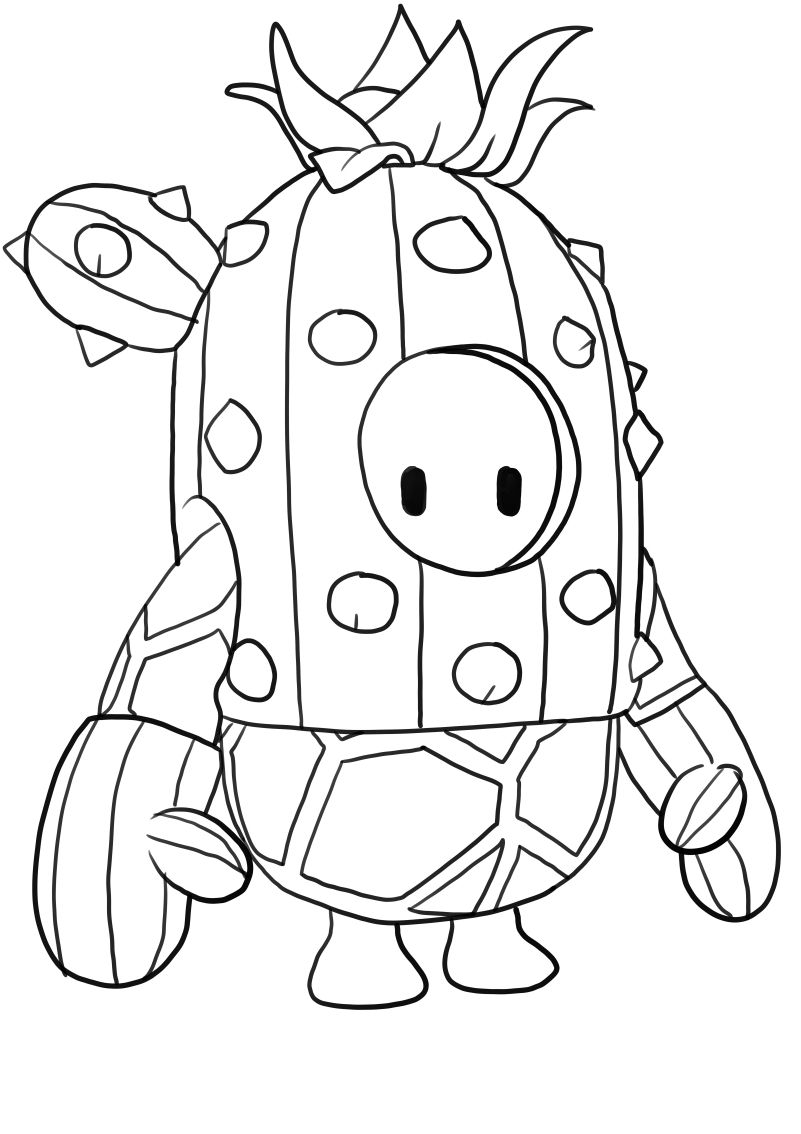 Cactus from Fall Guys coloring page to print and coloring