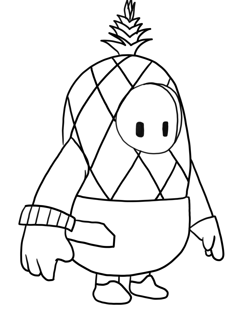 Pineapple from Fall Guys coloring page to print and coloring