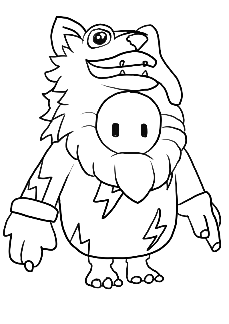Wolf from Fall Guys coloring page to print and coloring