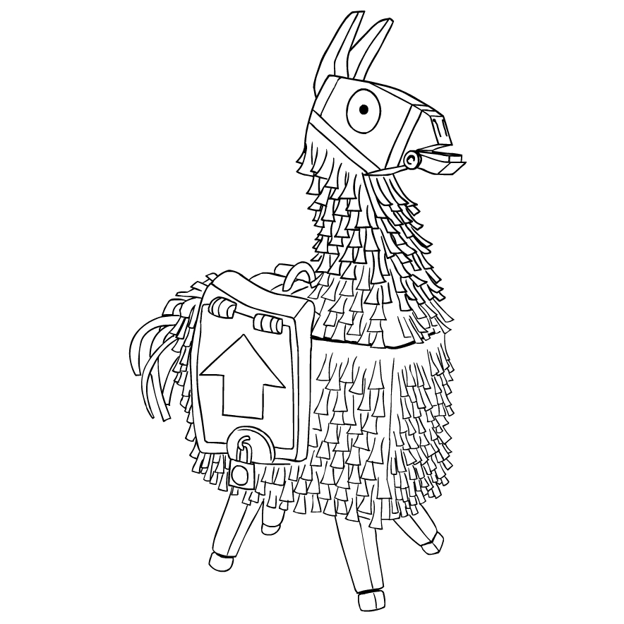 Llama From Fortnite Coloring Page