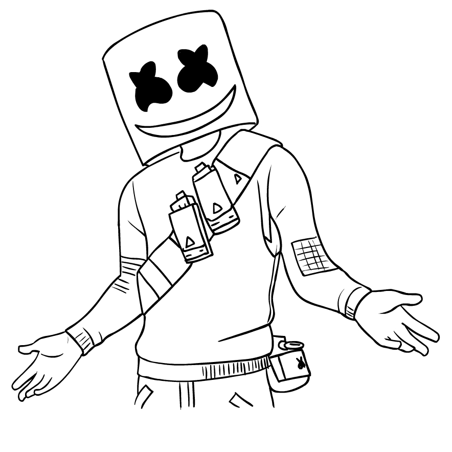 Marshmello From Fortnite Coloring Page