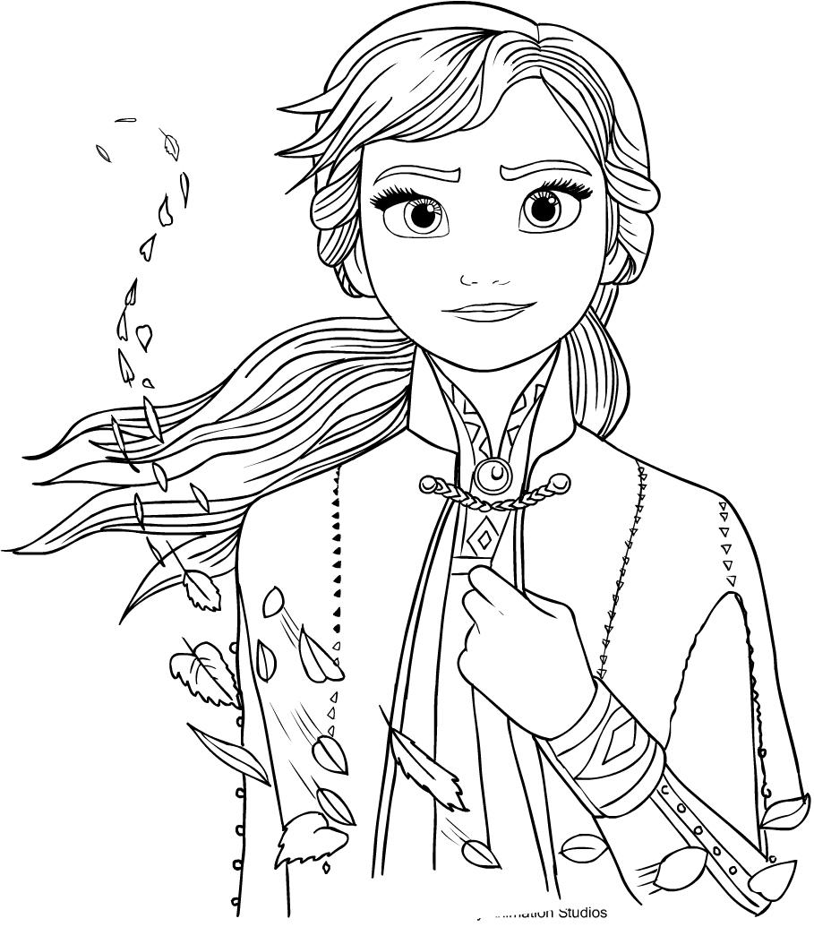 Anna from Frozen 2 värityskuvat tulostaa ja värittää