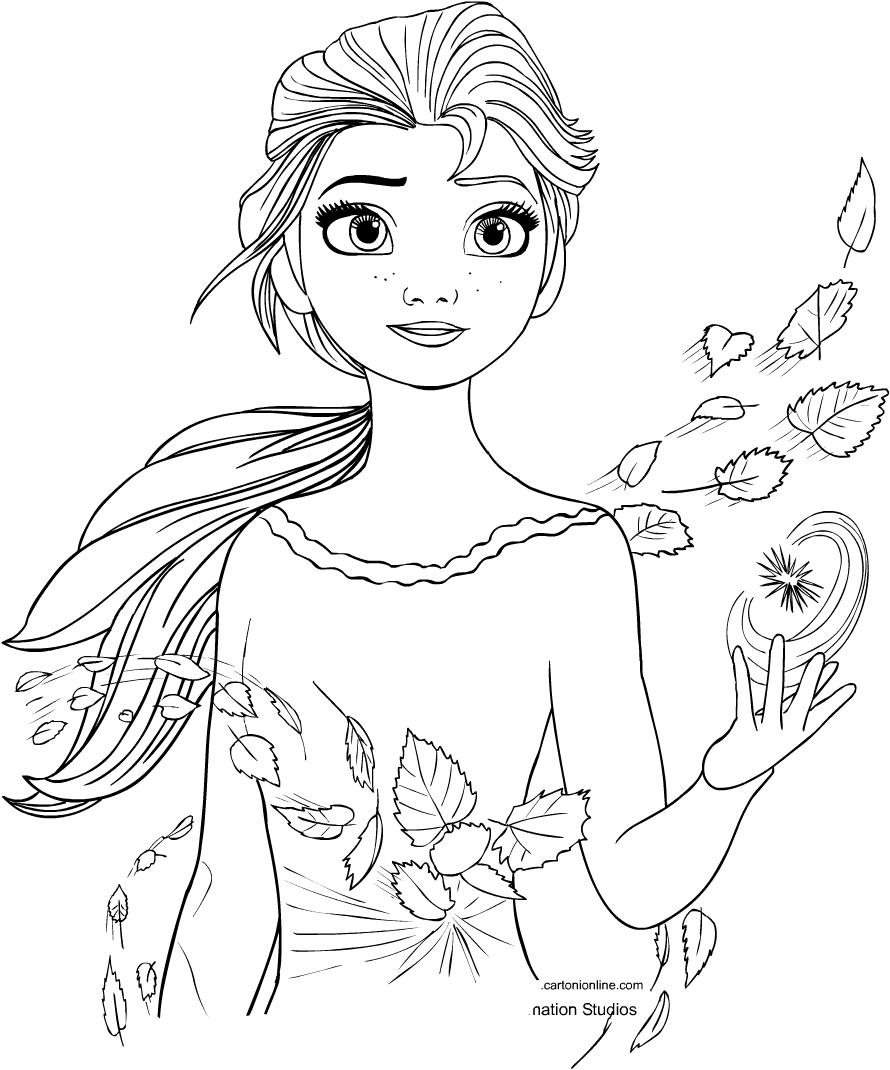 Disegno Della Elsa Di Frozen 2 Il Segreto Di Arendelle Da Colorare