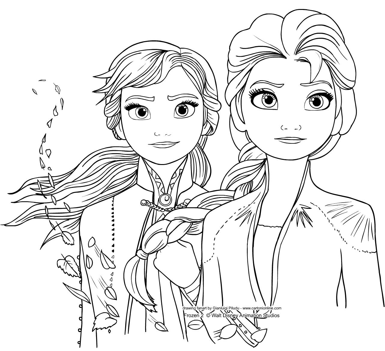 Elsa ja Anna from Frozen 2 värityskuvats tulostaa ja värittää