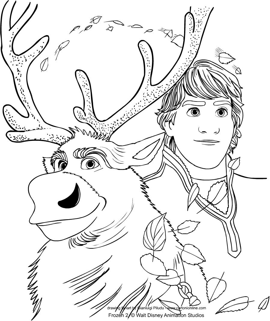 Frozen 2からスヴェン、クリストフを描く-印刷して色を塗るアレンデールの秘密