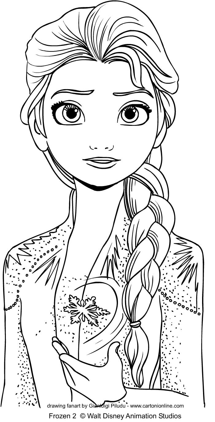 Elsa from Frozen 2 värityskuvat tulostaa ja värittää
