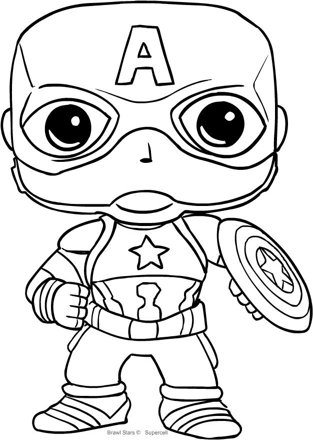Disegno Captain America Di Funko Avengers Endgame Da Colorare