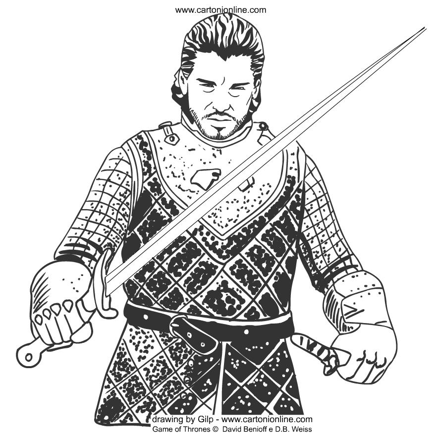 Desenho De Jon Snow De Game Of Thrones Para Colorir