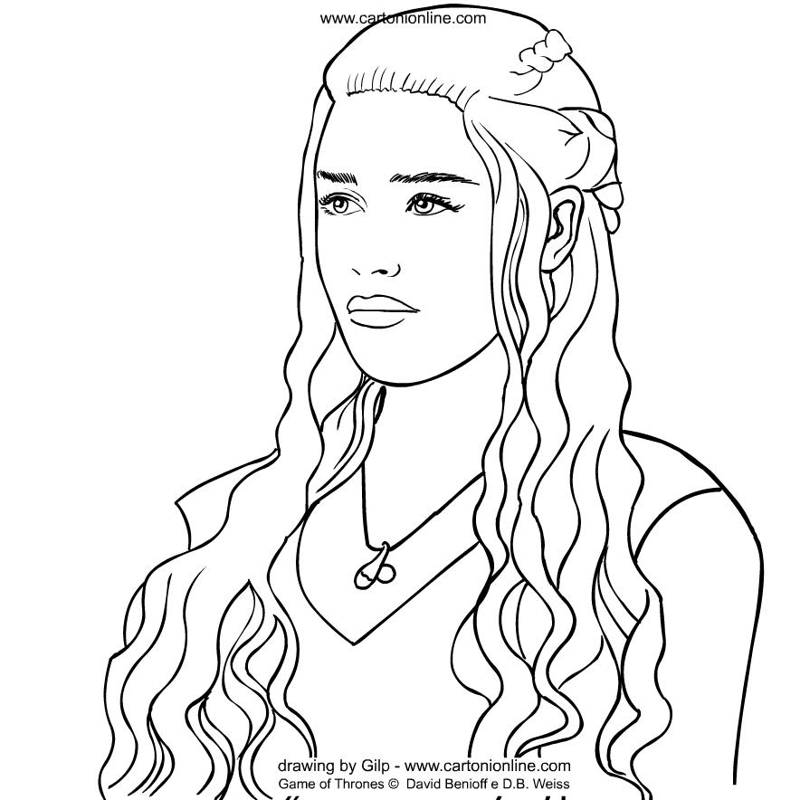 Coloriage de Daenerys Targaryen deGameofThronesàimprimeretcolorier