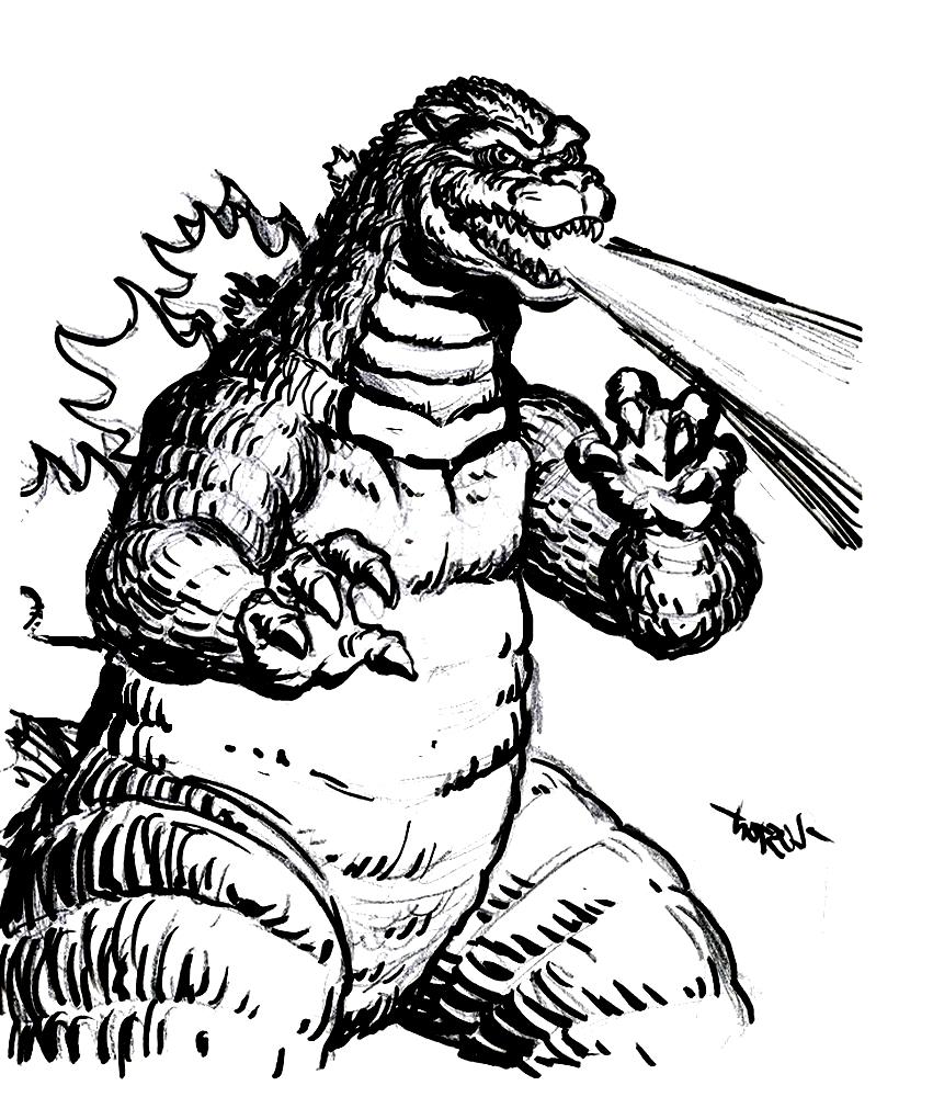 Suunnittelu 2 from Godzilla värityskuvat tulostaa ja värittää