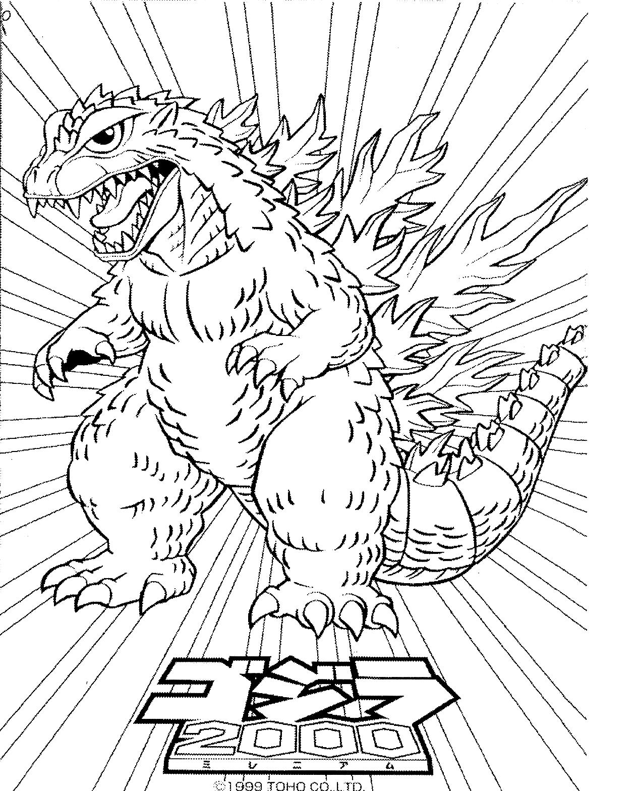 Suunnittelu 6 from Godzilla värityskuvat tulostaa ja värittää
