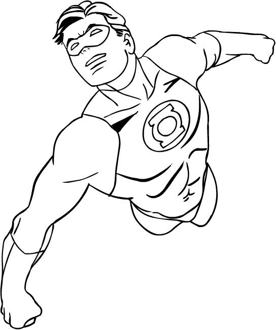 Green Lantern värityskuvat tulostaa ja värittää - Suunnittelu 4