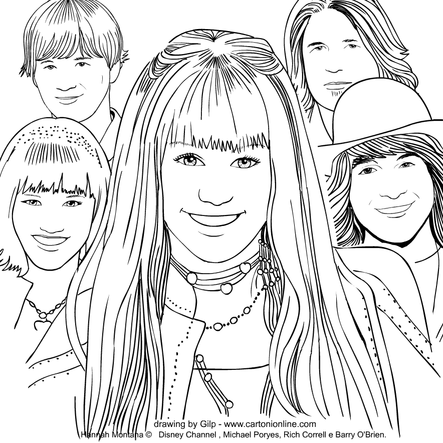 Drawing of  Hannah Montana coloring page to print and coloring