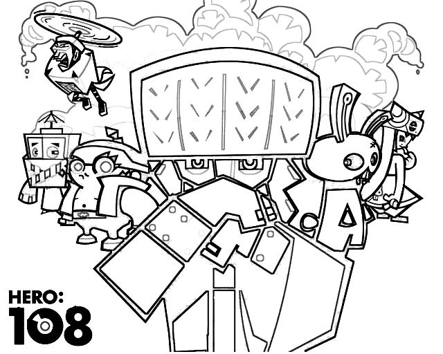 Dibujo 3 de Hero 108 para imprimir y colorear