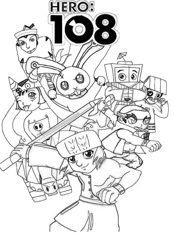 Dibujo 9 de Hero 108 para imprimir y colorear