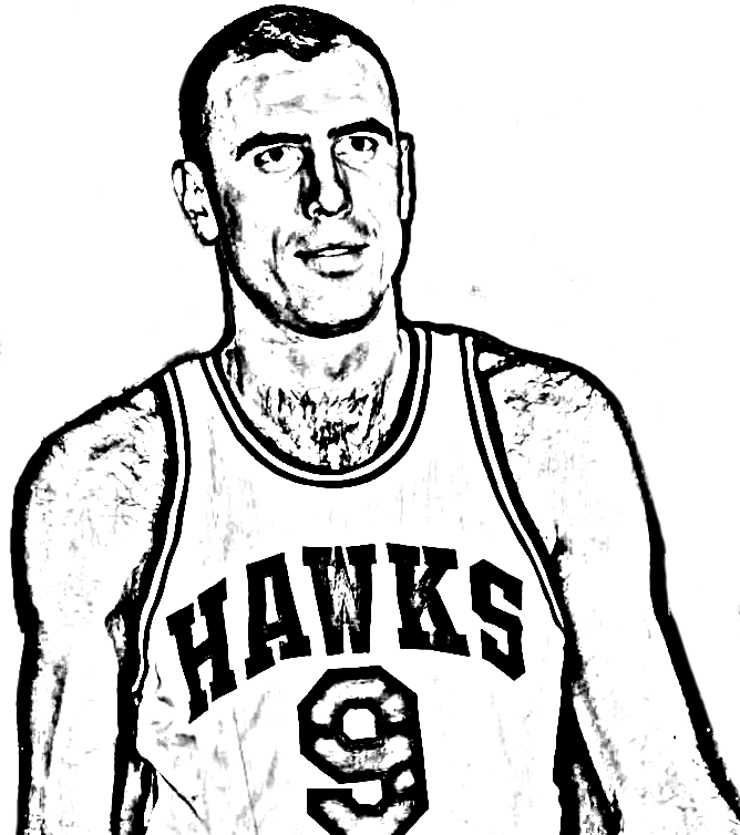 Desenho de Bob Pettit de Basket NBA para imprimir e colorir