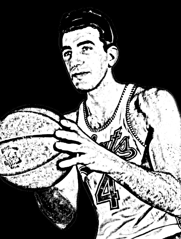 Desenho de Dolph Schayes de Basket NBA para imprimir e colorir