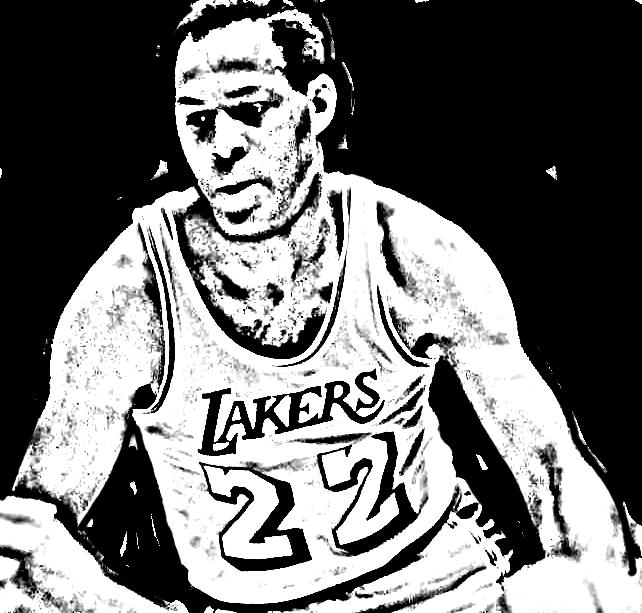 Desenho de Elgin Baylor de Basket NBA para imprimir e colorir