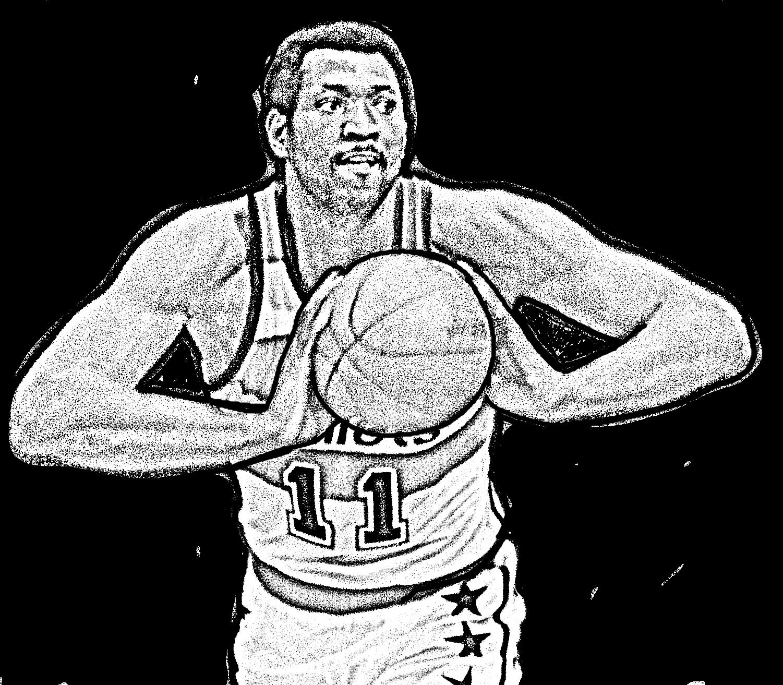Desenho de Elvin Hayes de Basket NBA para imprimir e colorir